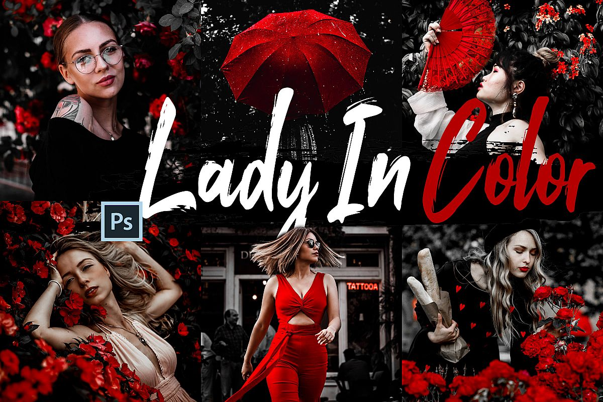 10 Lady In Color Photoshop Actions, ACR and LUT presets example image 1