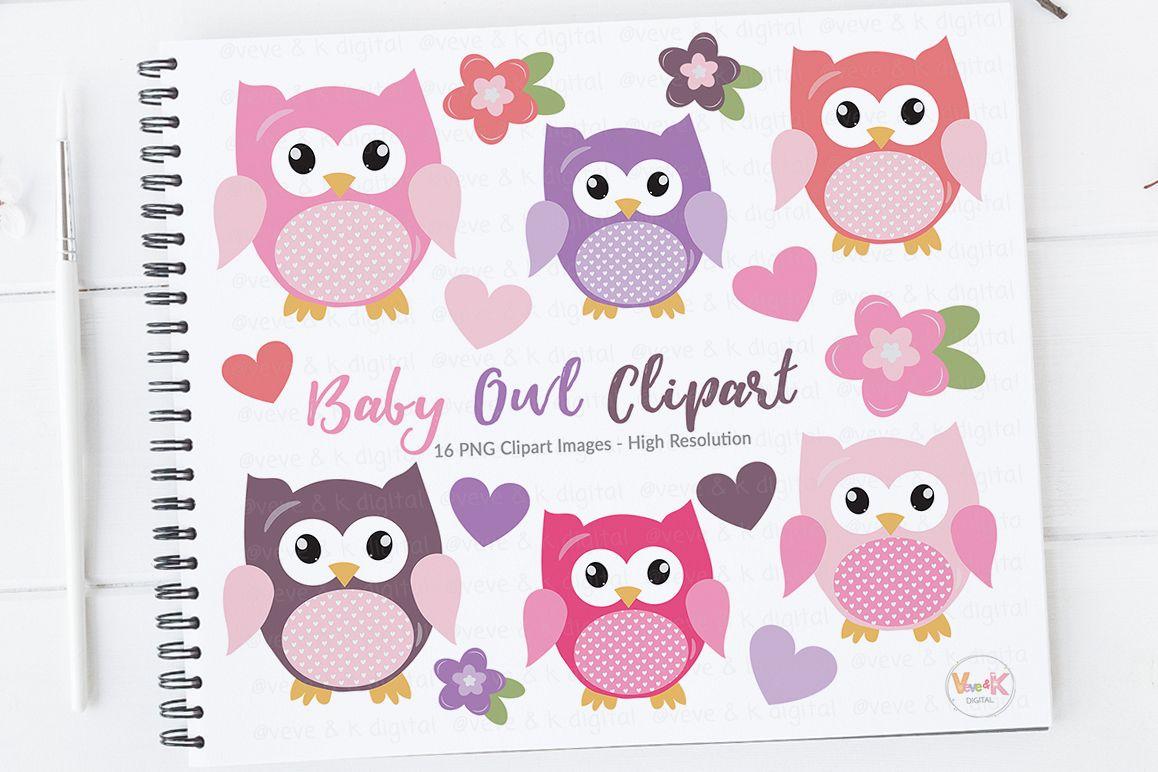 cute owls clipart pink owls clipart digital owls clipart baby rh designbundles net Cartoon Owl Clip Art Blue Owl Clip Art