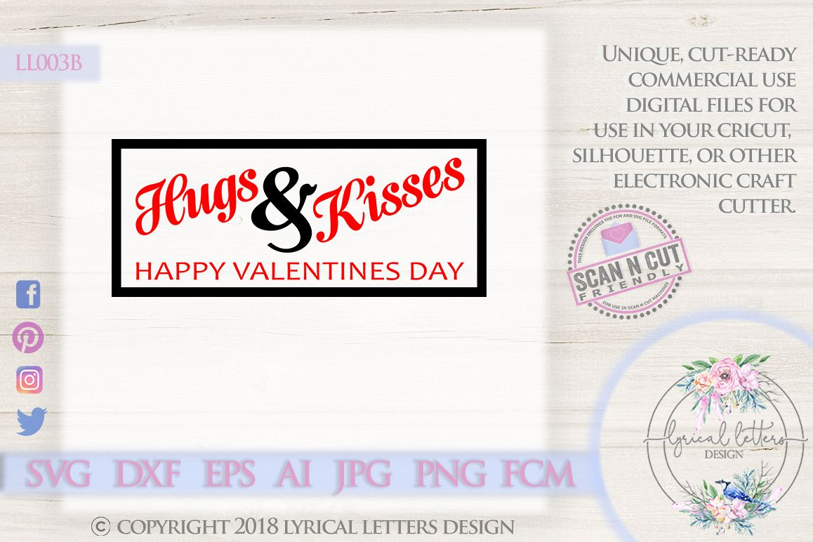 Hugs and Kisses Valentine's Day SVG DXF Cut File LL003B example image 1