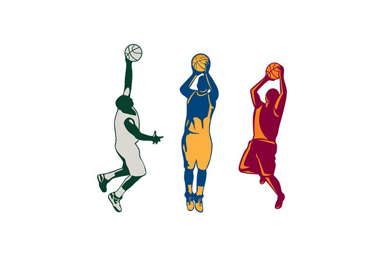 Basketball Player Shooting Retro Collection example image 1