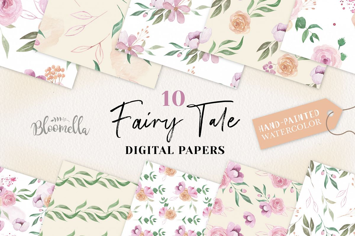 Fairy Tale Seamless Patterns Digital Papers Flowers Floral example image 1