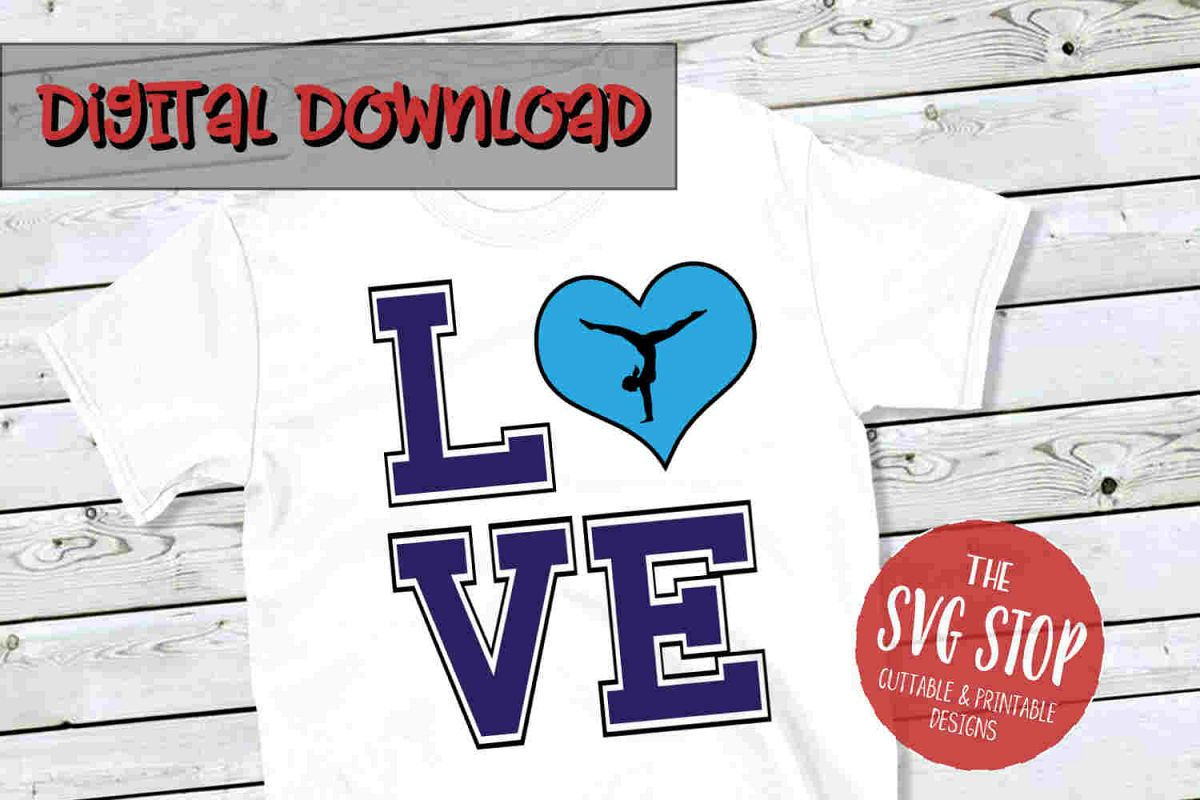 Love Gymnastics 2-SVG, PNG, DXF example image 1