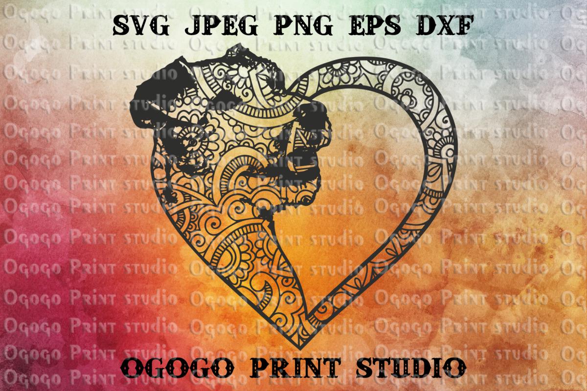 Terrier Svg, Heart SVG, Dog SVG, Zentangle Svg, Mandala svg example image 1
