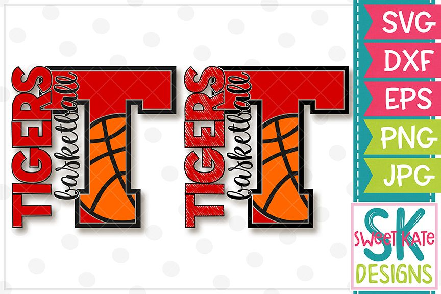 T Tigers Basketball SVG DXF EPS PNG JPG example image 1
