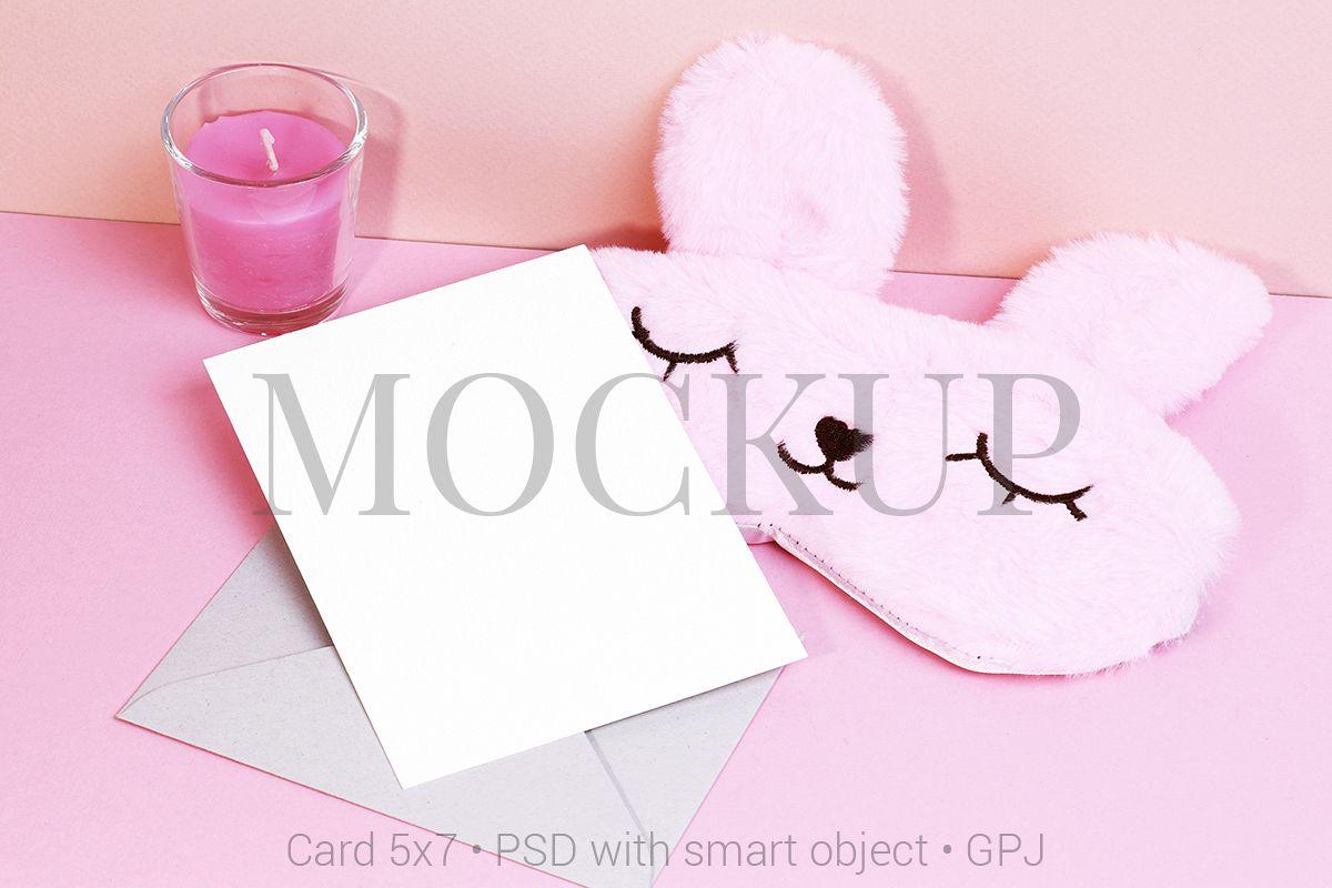 Card mockup with sleeping mask & FREE BONUS example image 1