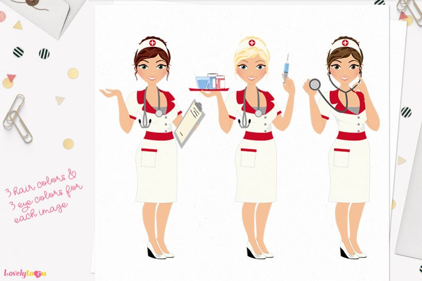 Nurse woman character clip art L401 Carly example image 1