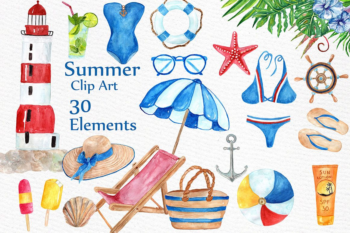 Watercolor summer clipart example image 1