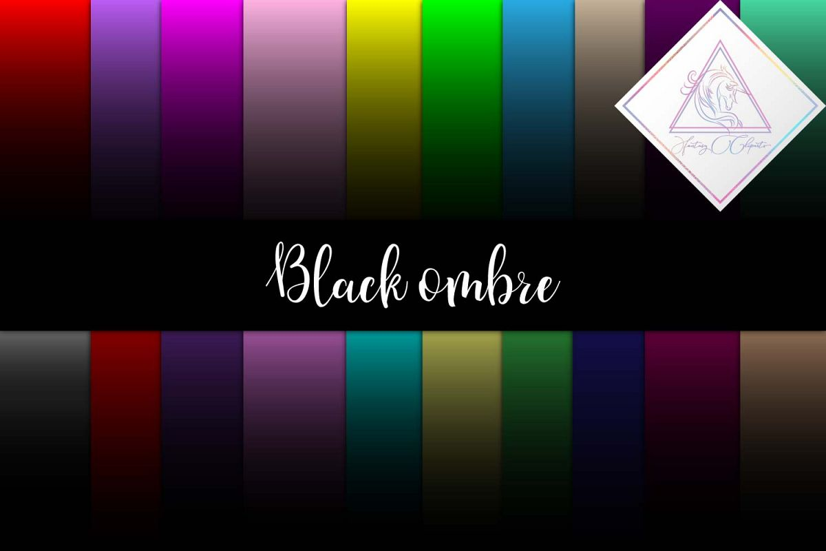 Black Ombre Digital Paper example image 1