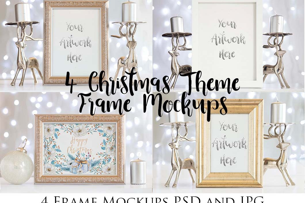 4 Christmas Frame Mockups example image 1