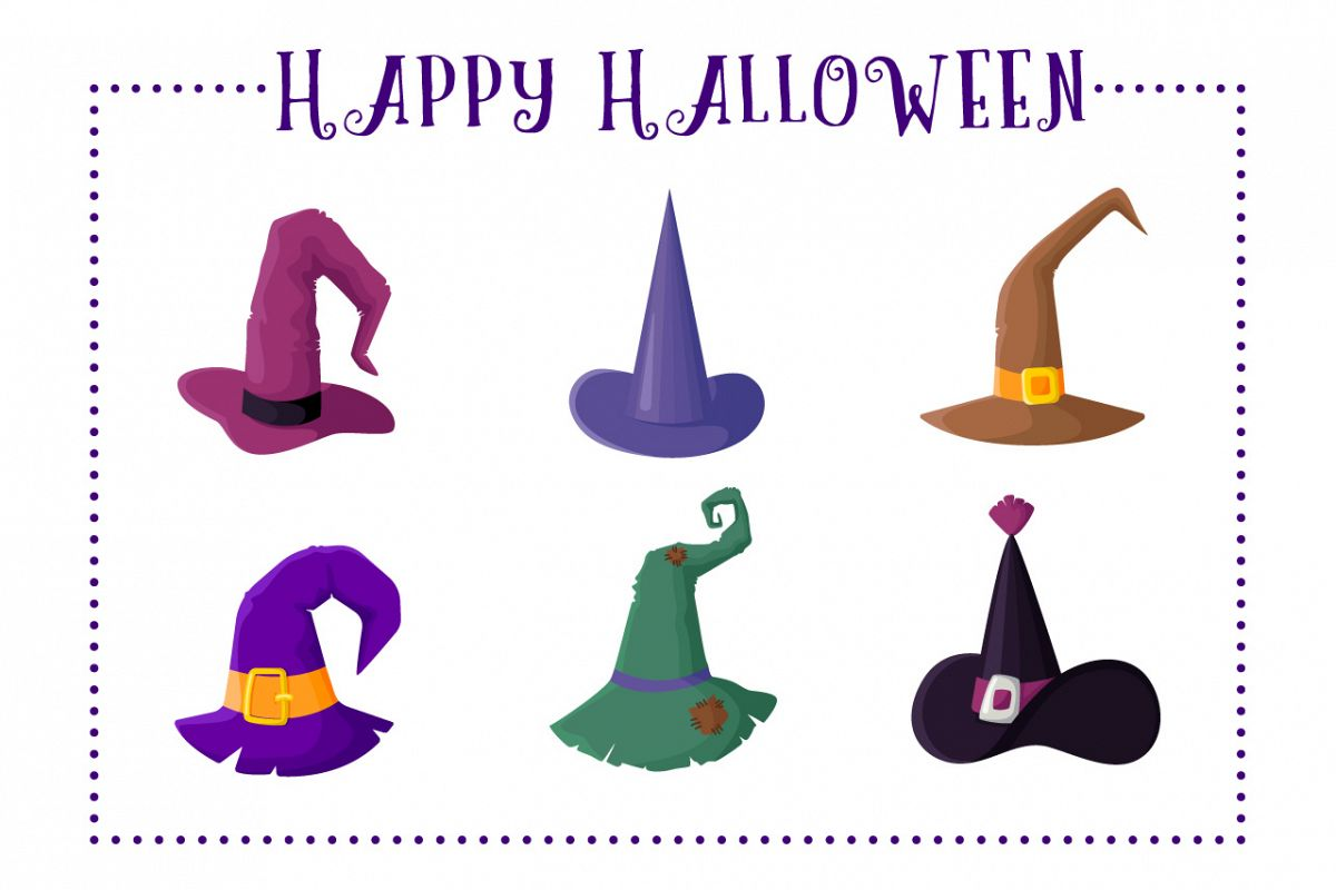 Cute Witches Hats - vector set example image 1