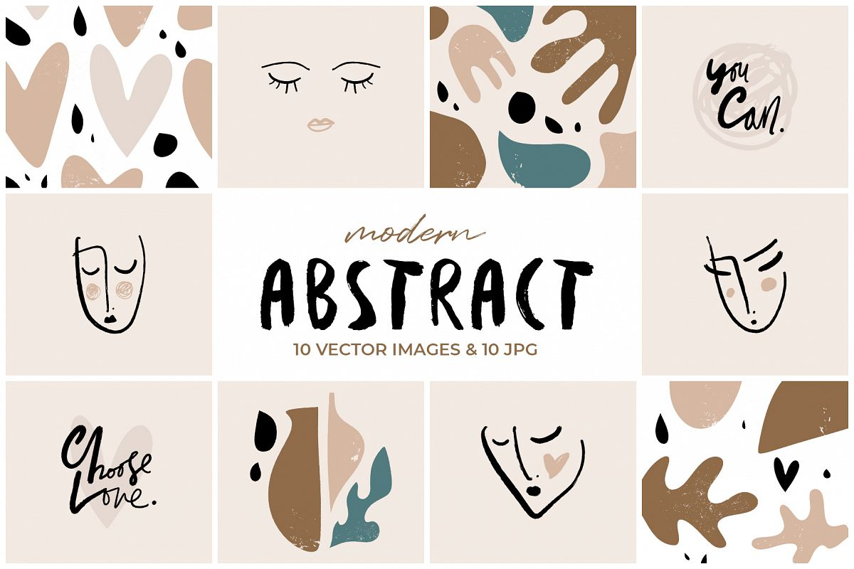 Modern stylish faces and abstractions clip art set example image 1
