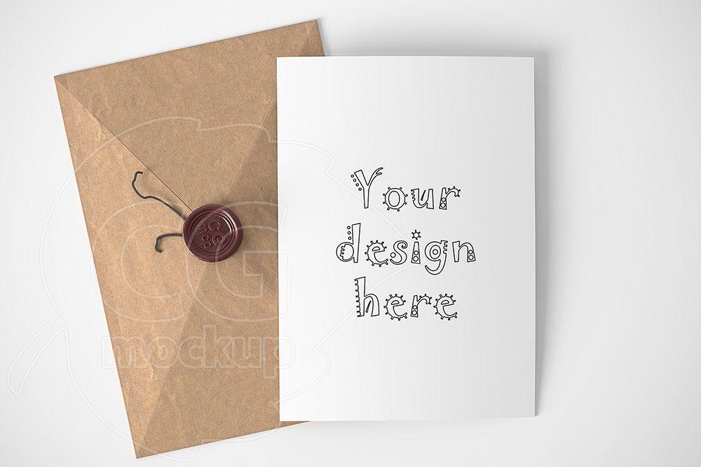 Braun Kraft Envelope Card Mockup