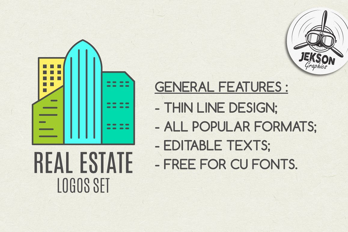Real Estate Logo Set. LineArt example image 1