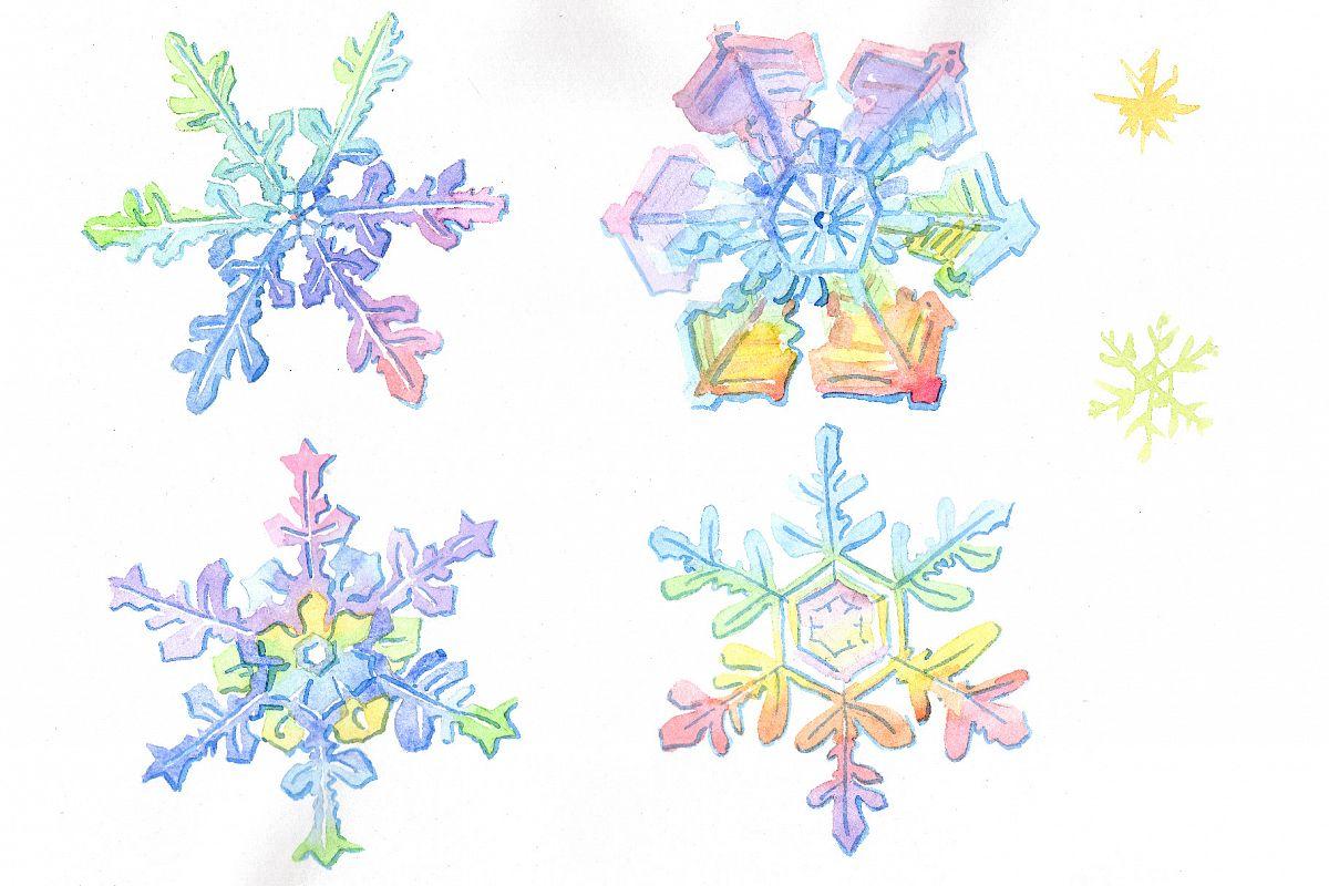 Aquarelle Colorful Snowflakes Png Set