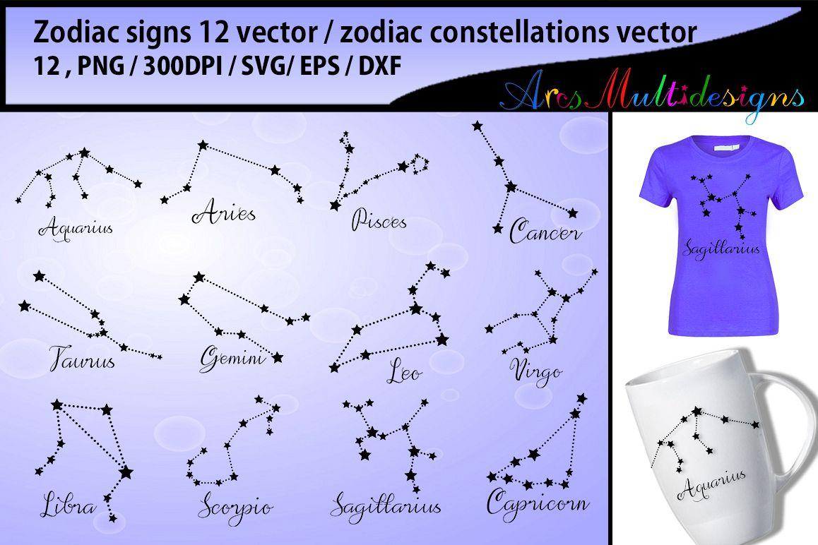 Zodiac Vector Silhouette Zodiac Constellations Svg Vector