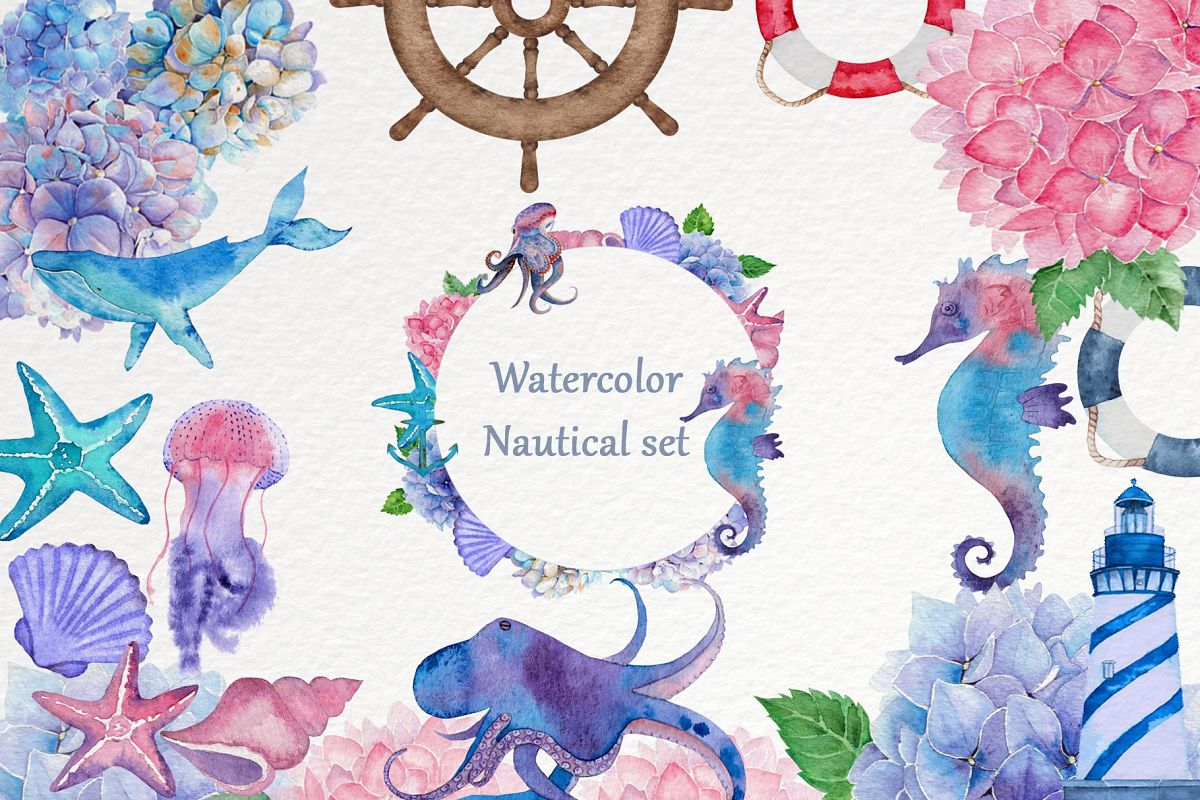 Watercolor nautical set example image 1