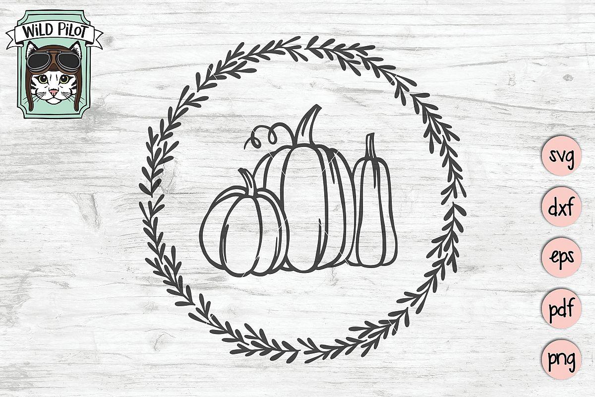 Pumpkin Wreath svg file, Fall, Autumn cut file, gourd svg example image 1