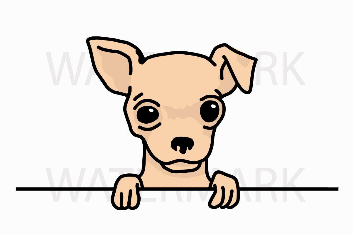 peeping chihuahua saying hello svg jpg png hand drawing