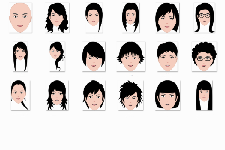 Ladies' hairstyle flat example image 1