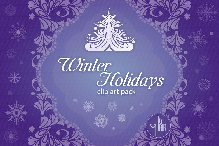 Winter Holidays, Christmas, New Year - vector clip art pack example image 1