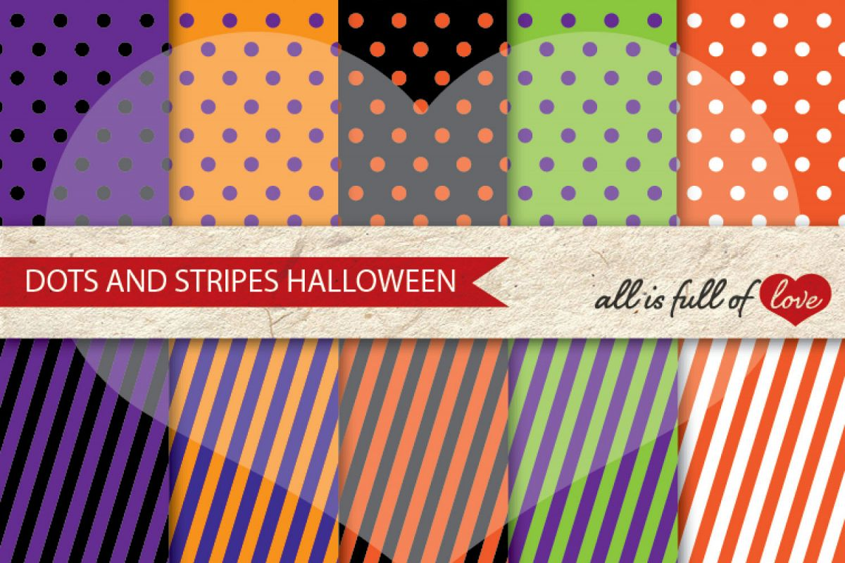 Halloween Digital Paper Pack Dots and Stripes Background Patterns example image 1