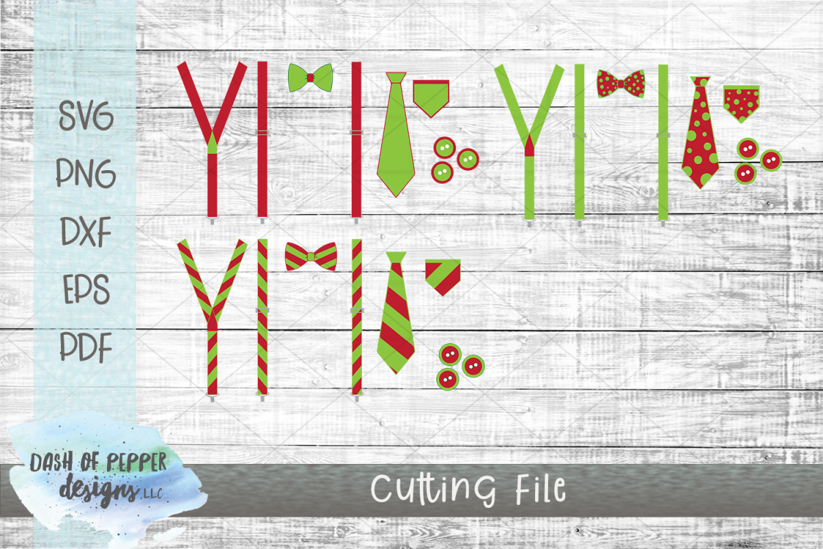 Christmas Suspenders & Bow Tie SVG - Christmas SVG example image 1