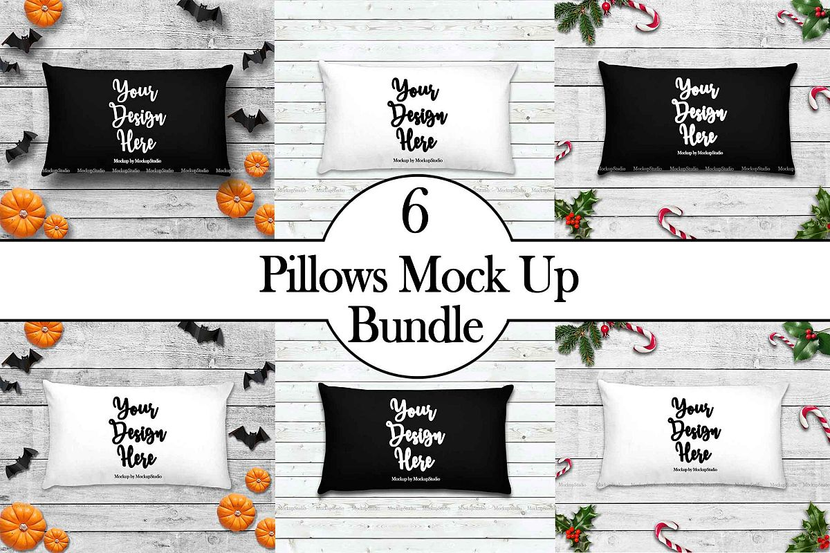 Throw Pillow Mockup Bundle 6 Images, Pillow Flat Lay Display example image 1