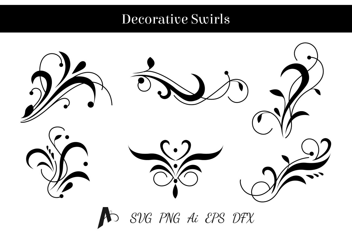 Decorative swirls design floral vector elements example image 1
