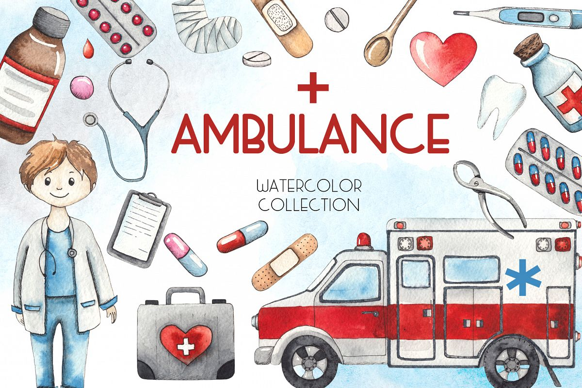 Ambulance. Watercolor collection example image 1