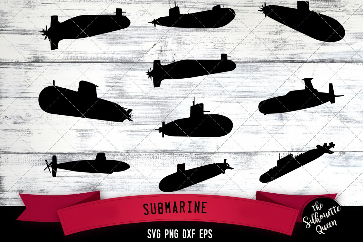 Submarine svg file, military navy svg cut file example image 1