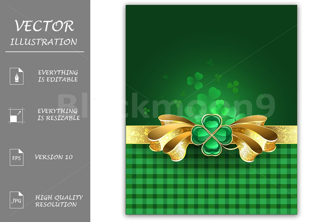 Gold bow with clover example image 1