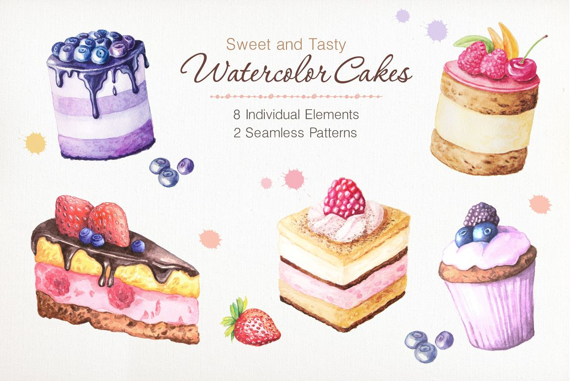 Watercolor Cakes Set example image 1