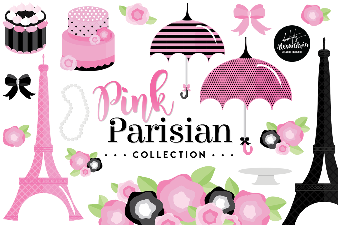 Pink Parisian Clipart Graphics & Digital Paper Patterns Bundle example image 1