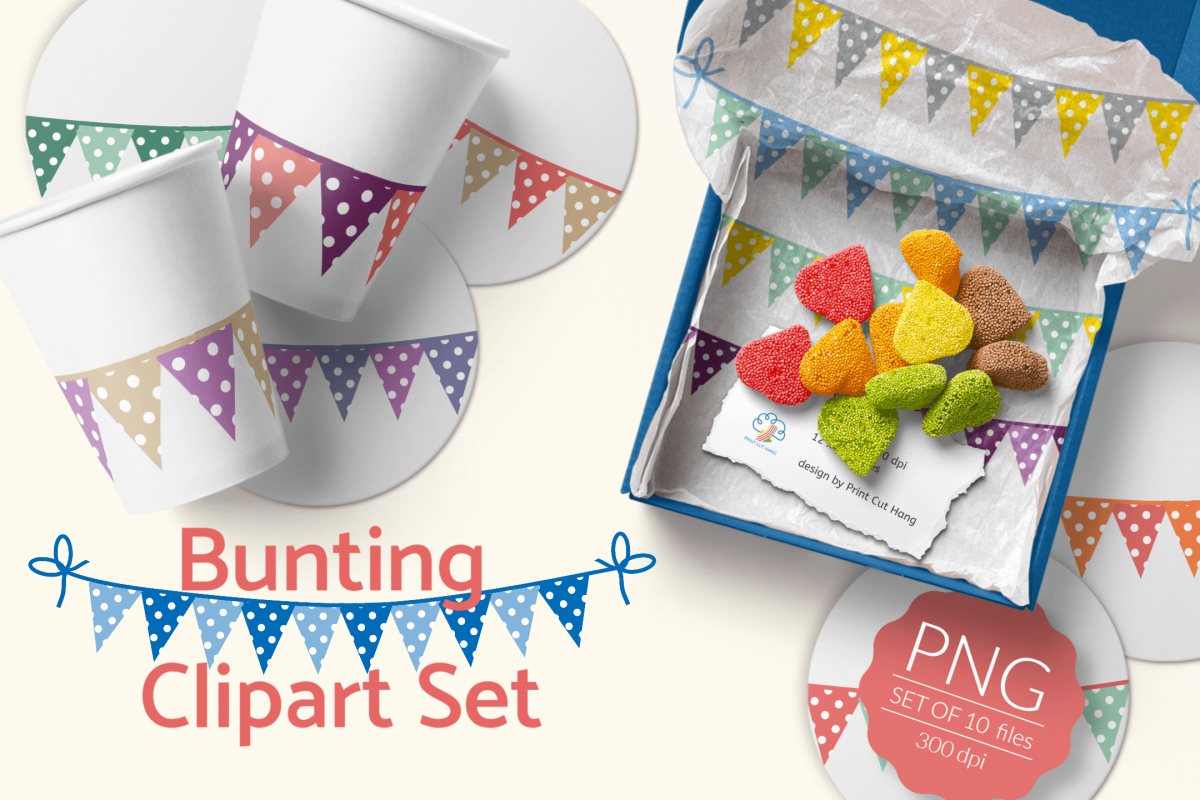 Bunting Flags Clipart Set PNG Files Download example image 1