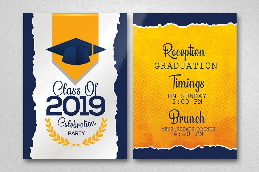 Double Sided Graduation Party Invitation Card