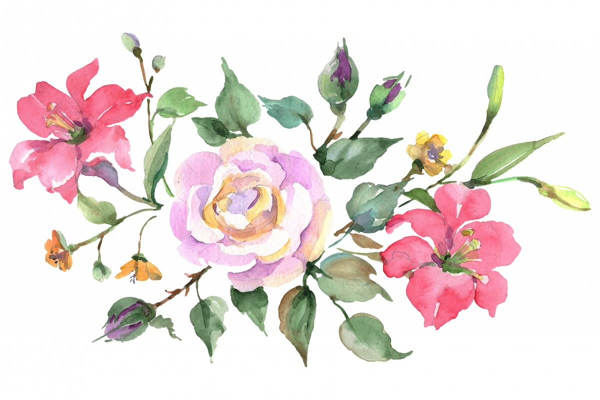 Bouquet with pink rose Watercolor png example image 1