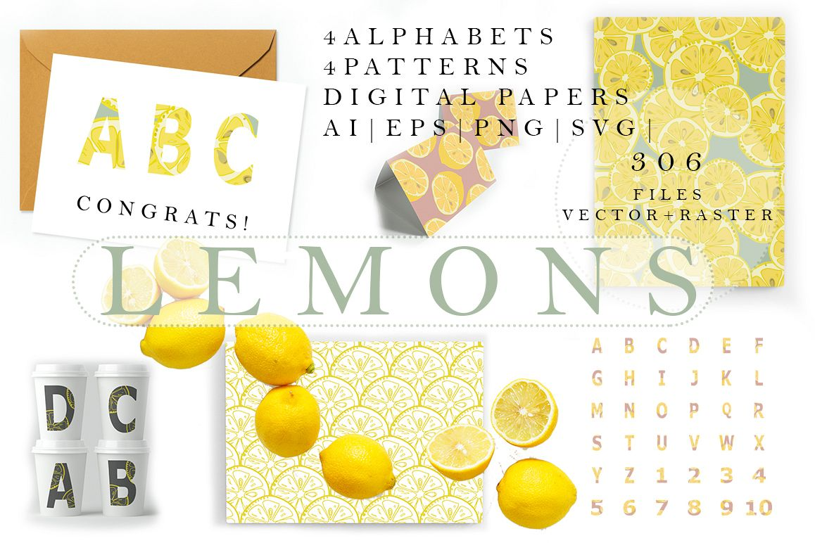 Lemons collection (158 vector and raster files) : 4 Patterns, 4 clipart Alphabets (144 png, 4 eps). example image 1