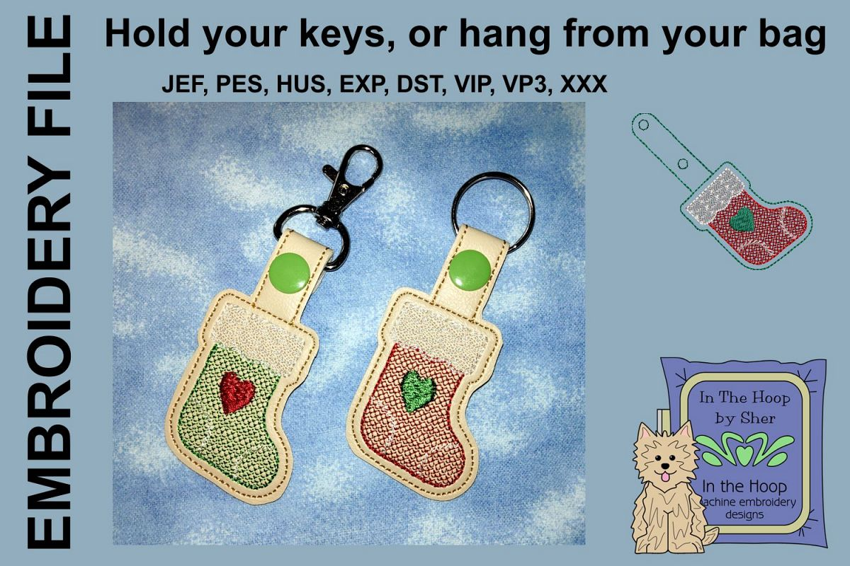 ITH Stocking Cookie Vinyl Key Fob or Bag Tag - Snap example image 1