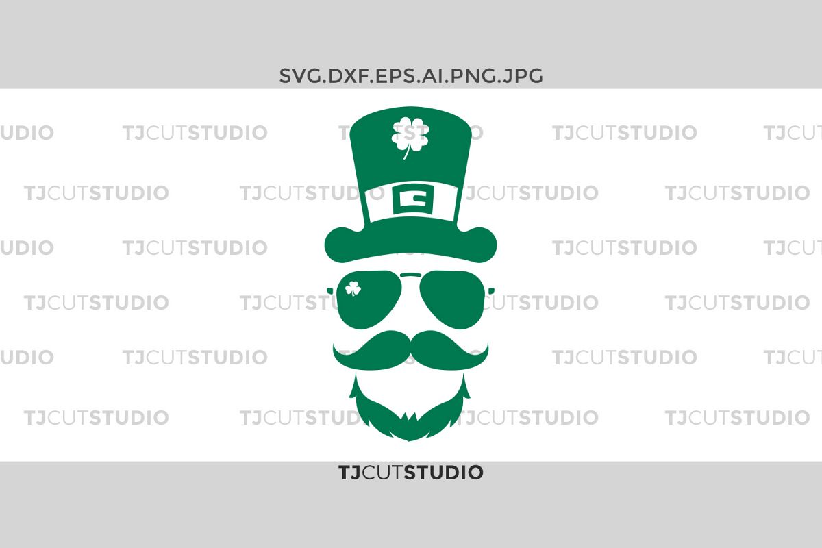 Leprechaun svg, Shamrock svg, St Patrick svg, Leprechaun Hat glasses svg, Files for Silhouette Cameo or Cricut, Commercial & Personal Use. example image 1