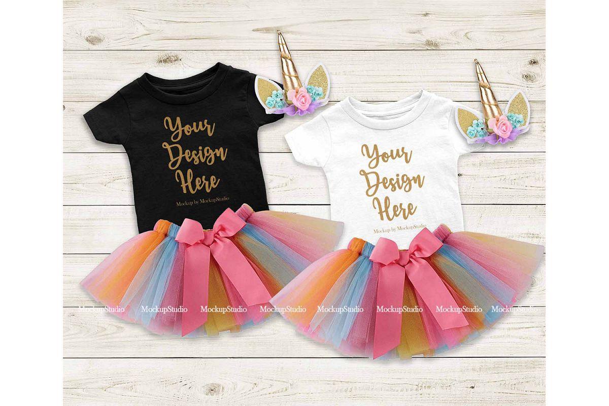 Baby Girl Black White Shirt Mockup Infant Tee Party Set