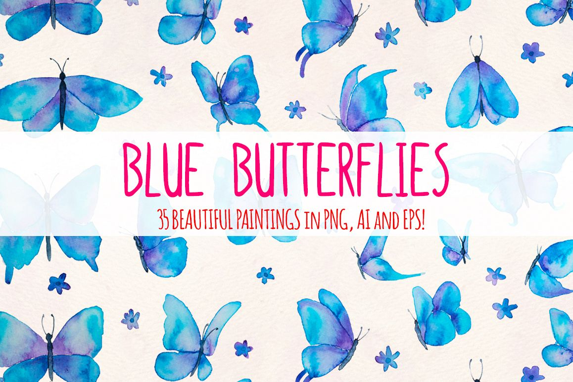 Blue Butterflies 35 Cute Elements example image 1