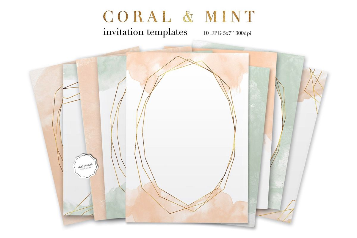 coral and mint invitation template