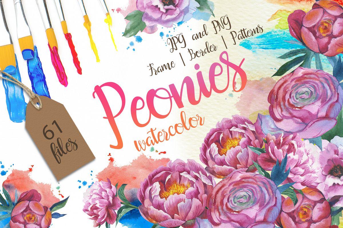 Colorful peonies JPG watercolor flower set  example image 1