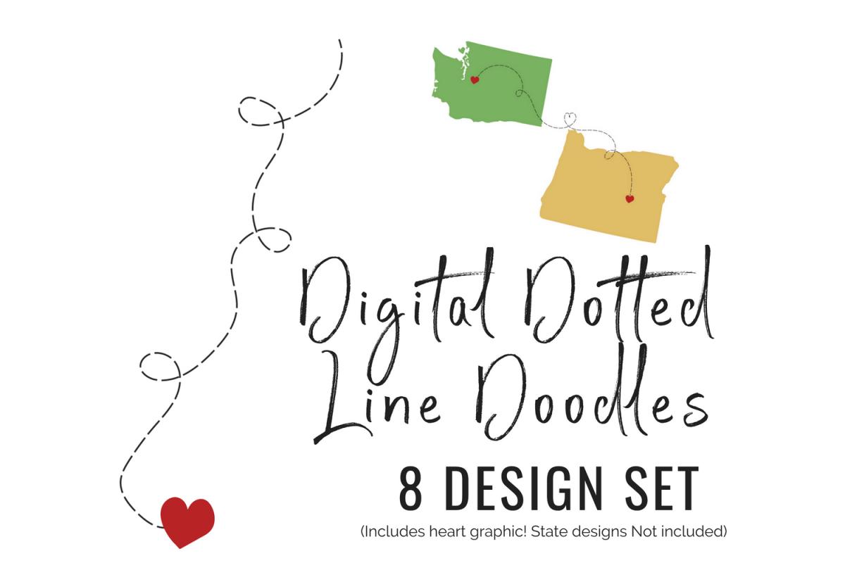 Dotted Line Doodles 8 design set heart