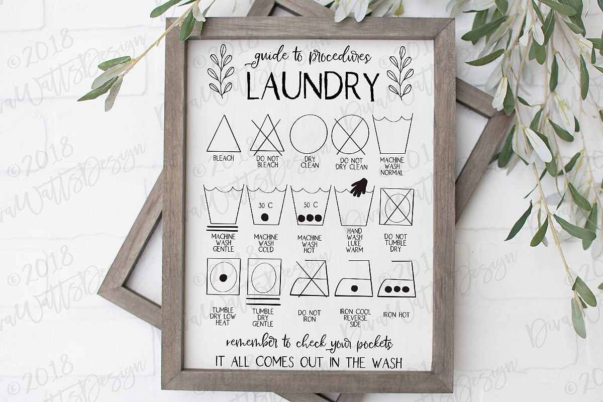 Laundry Procedures Laundry Room Sign Farmhouse Cutting File example image 1