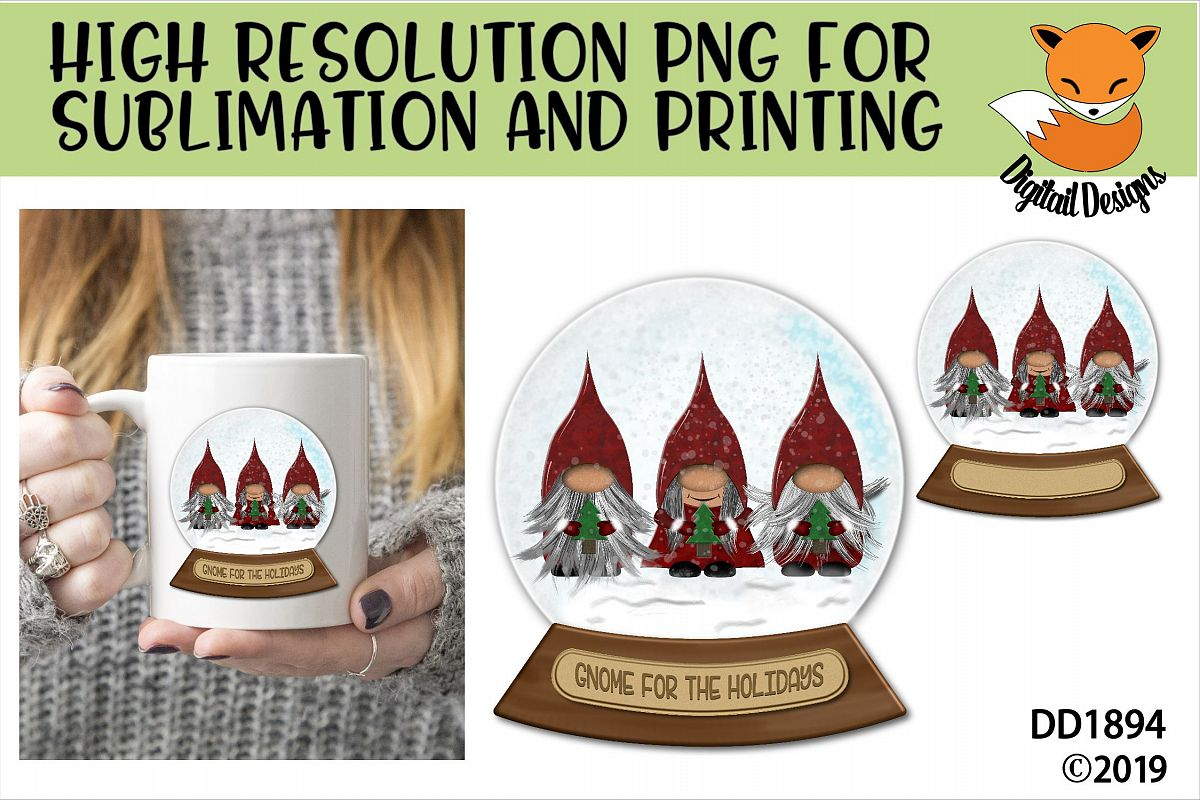 Christmas Nordic Gnome Trio Snowglobe Sublimation example image 1