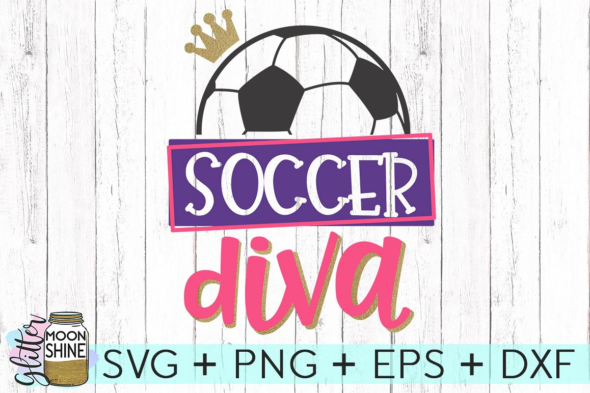 Soccer Diva SVG DXF PNG EPS Cutting Files example image 1