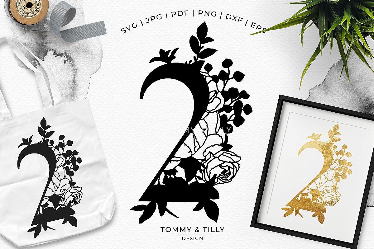 2 - Floral Bouquet Number Design - Paper Cut SVG EPS DXF PNG example image 1