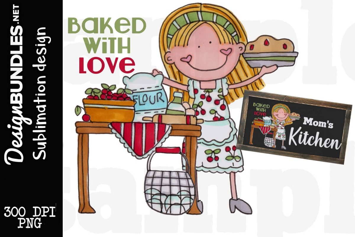 Baked With Love Sublimation Design example image 1