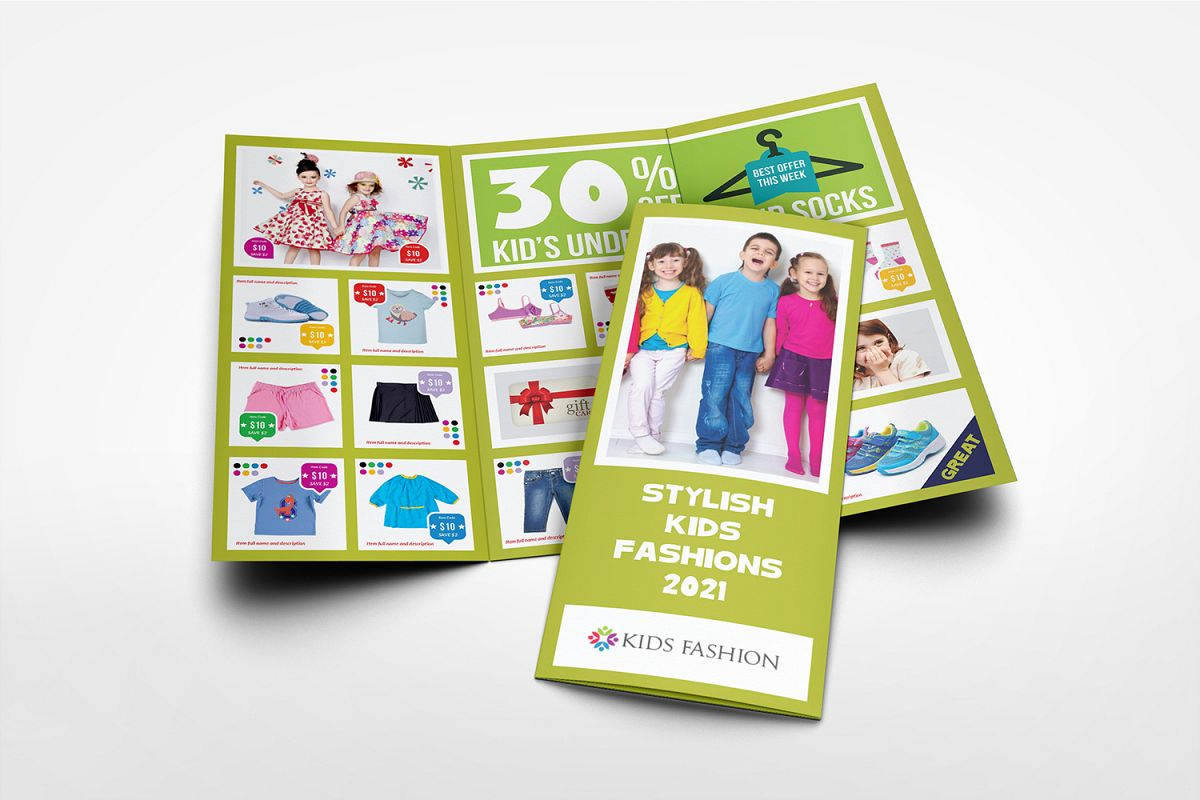Kids Fashion Products Catalog Tri-Fold Brochure Tempalte example image 1